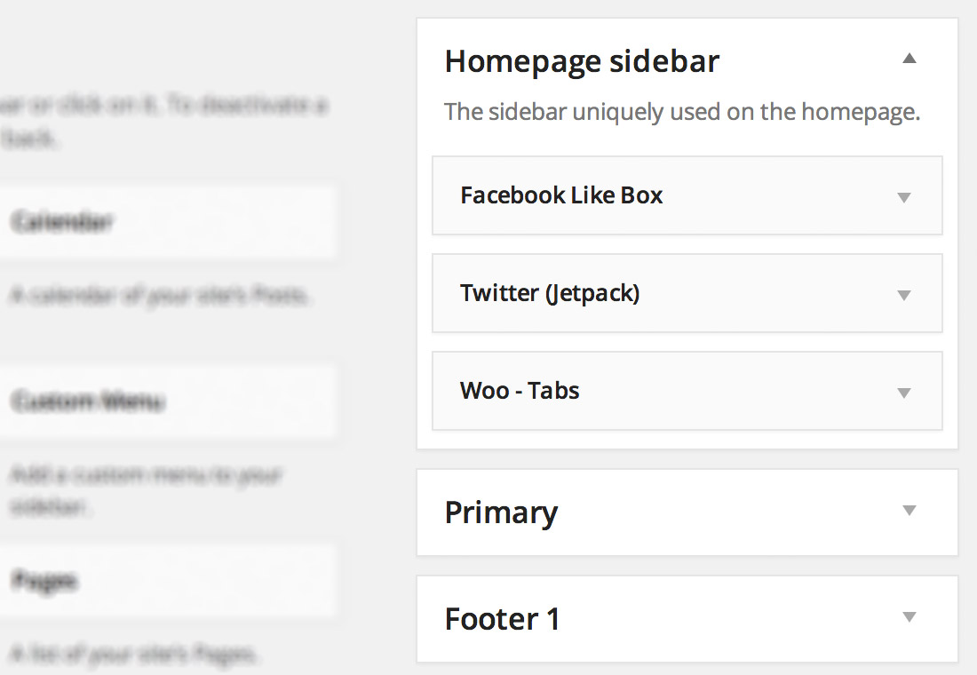 WooSidebars - create custom WordPress widgetized region