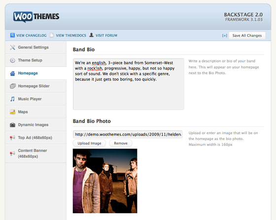 Adding the band bio and featured image for it