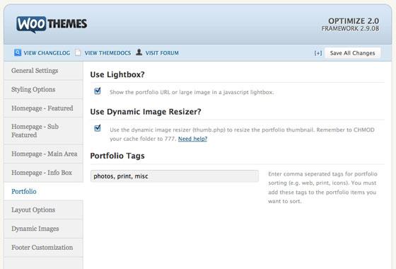 The portfolio settings for the Optimize theme