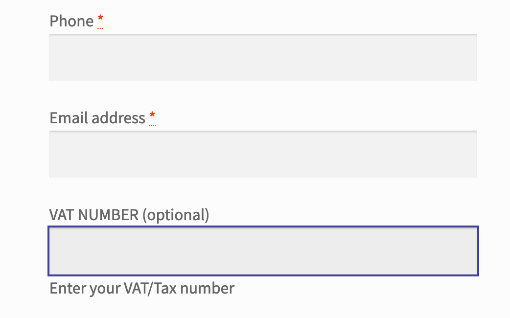 EU VAT Number field with focus showing the label above and description below, both editable in the setting