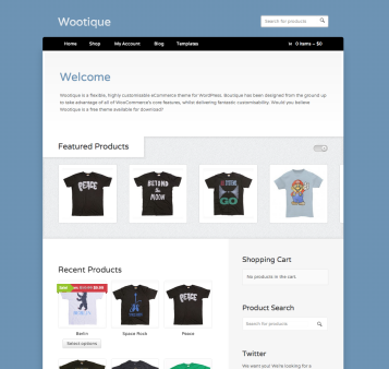 The Wootique theme's homepage, showcasing products from your online store.