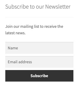 Newsletter subscription widget