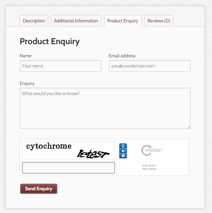 the woocommerce product enquiry extension