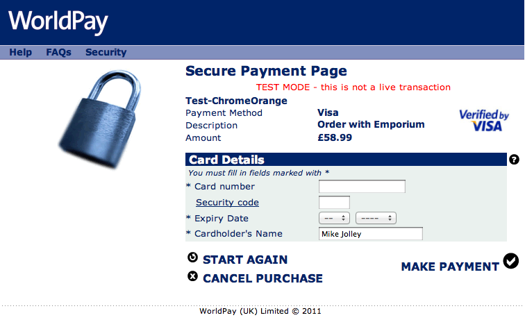 Take payments via Worldpay