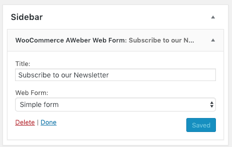 AWeber Web Form widget