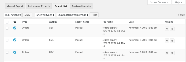 Export list