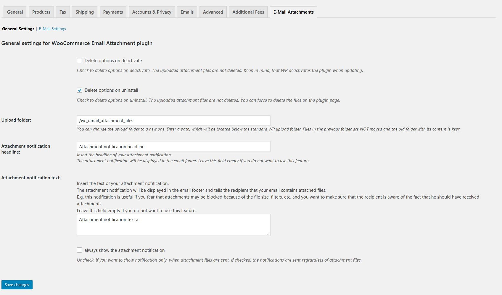 Screenshot of the e-mail attachments admin/settings page (general settings)