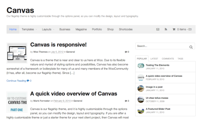 Canvas Homepage