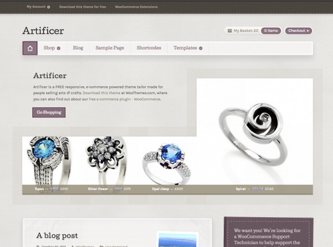 The Artificer theme, showcasing your products and content on it's homepage.