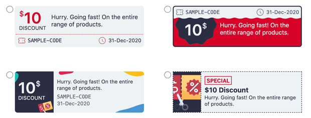 Coupon design templates in Smart Coupons