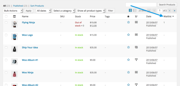 A view of the product listing screen showing the new waitlist column in the admin