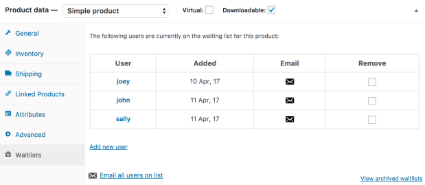 An example of the new Waitlist tab on the product edit screen