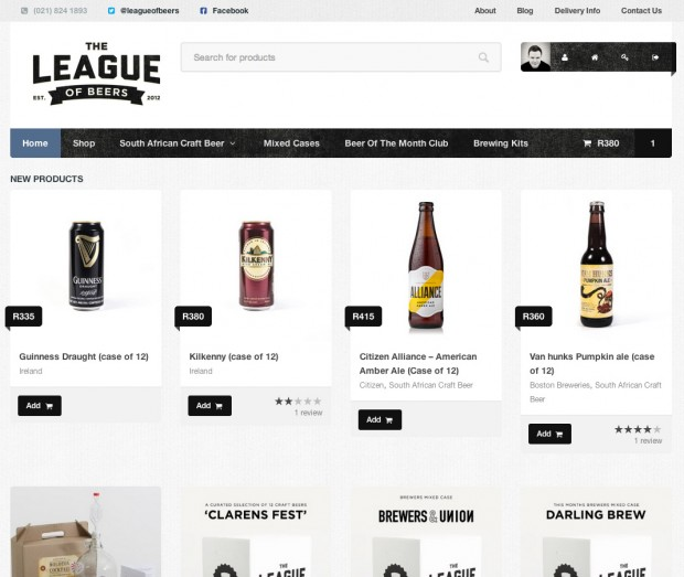 Superstore running on the League of Beer website.