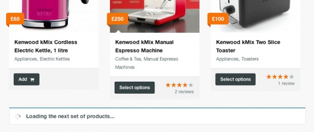 No need for pagination, list all your products on an infinite shop page.