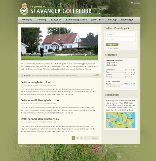 The custom previous version of the Stavanger Golfklubb website.