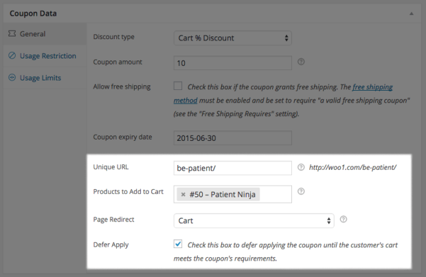 new URL Coupon settings