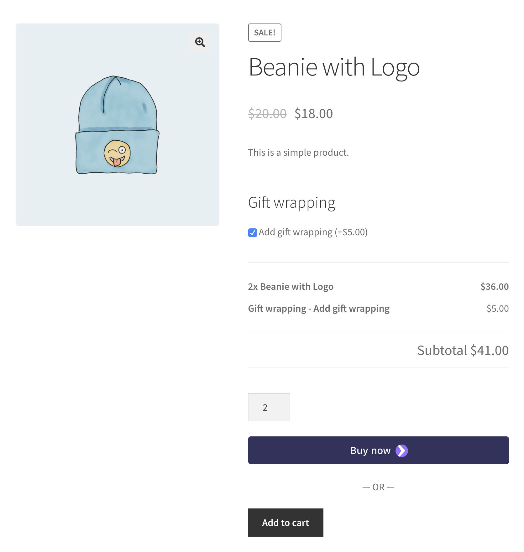 screenshot showing a checkbox based selection of a product using the WooCommerce product add-ons