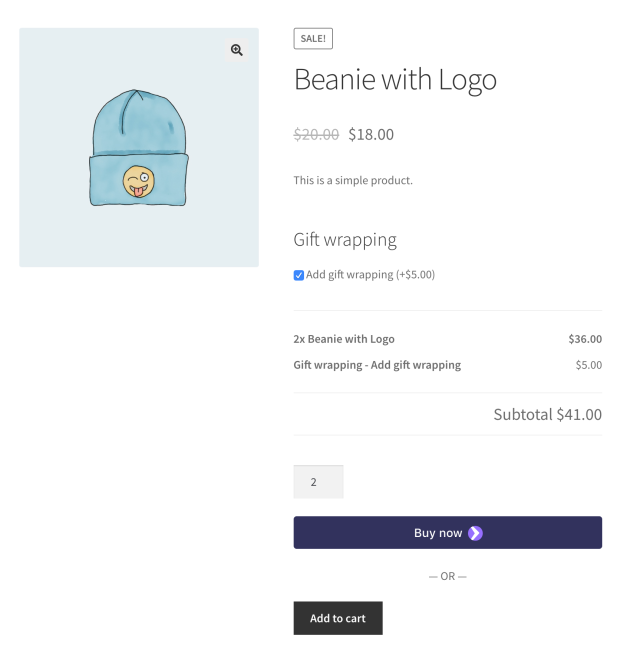 Product Add-Ons gif twrapping option