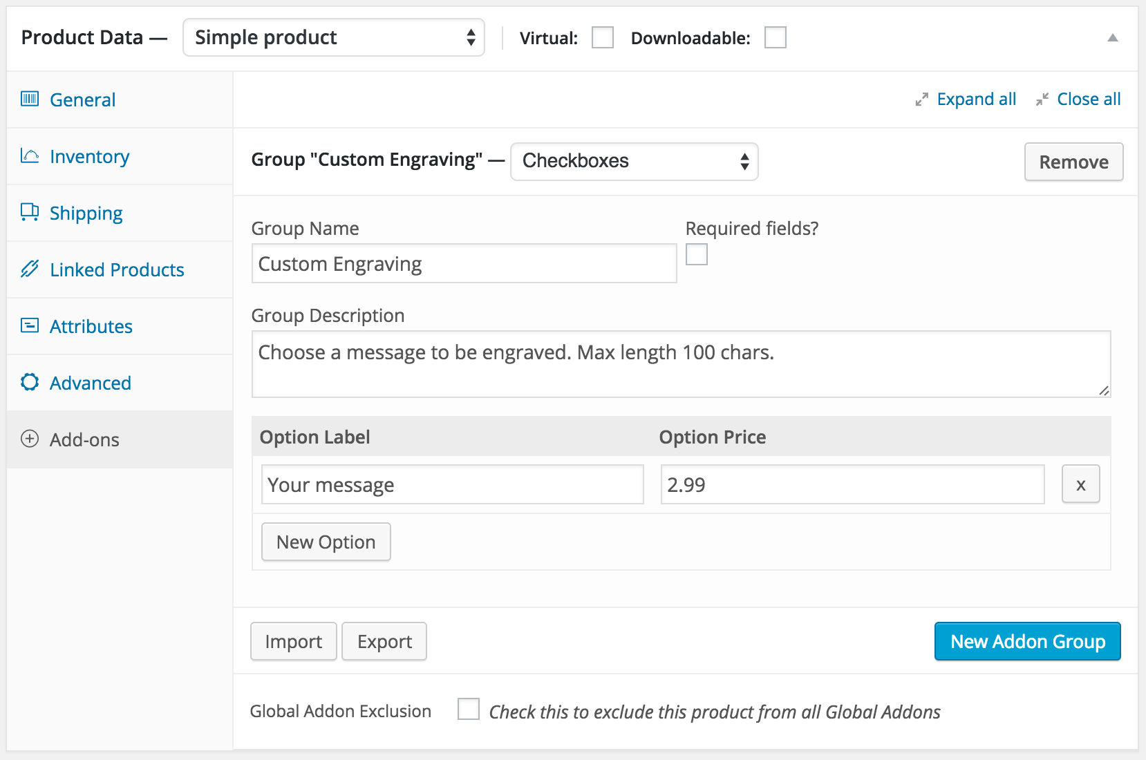 woocommerce product add ons custom personalized products