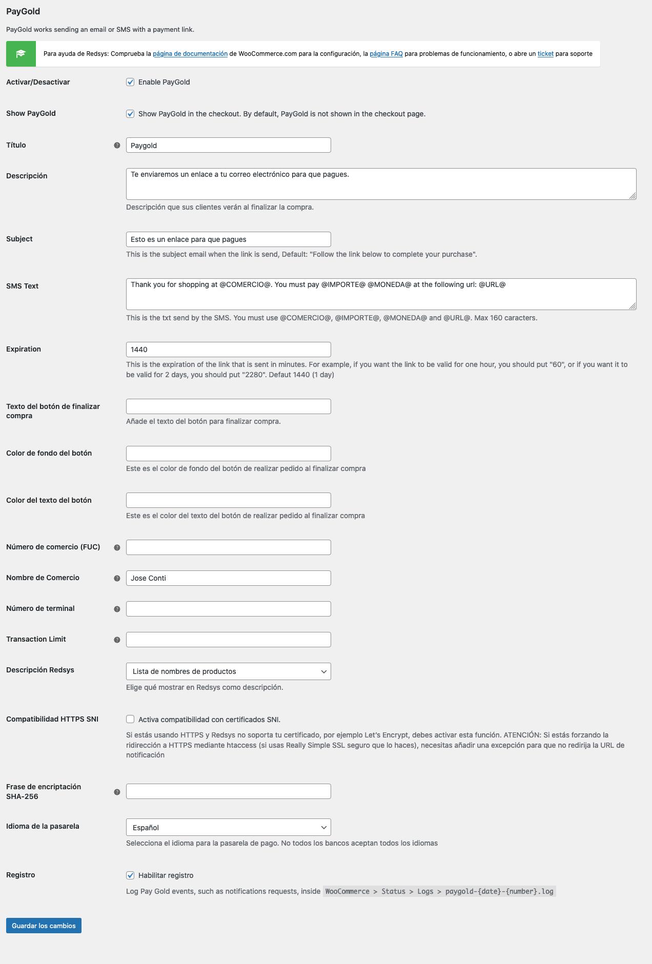 PayGold WooCommerce Configuración