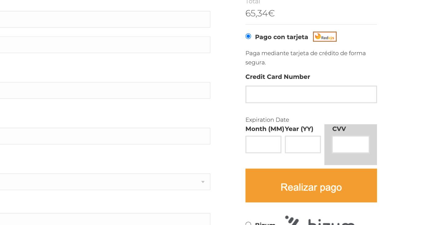 Tarjeta de crédito en el checkout Redsys