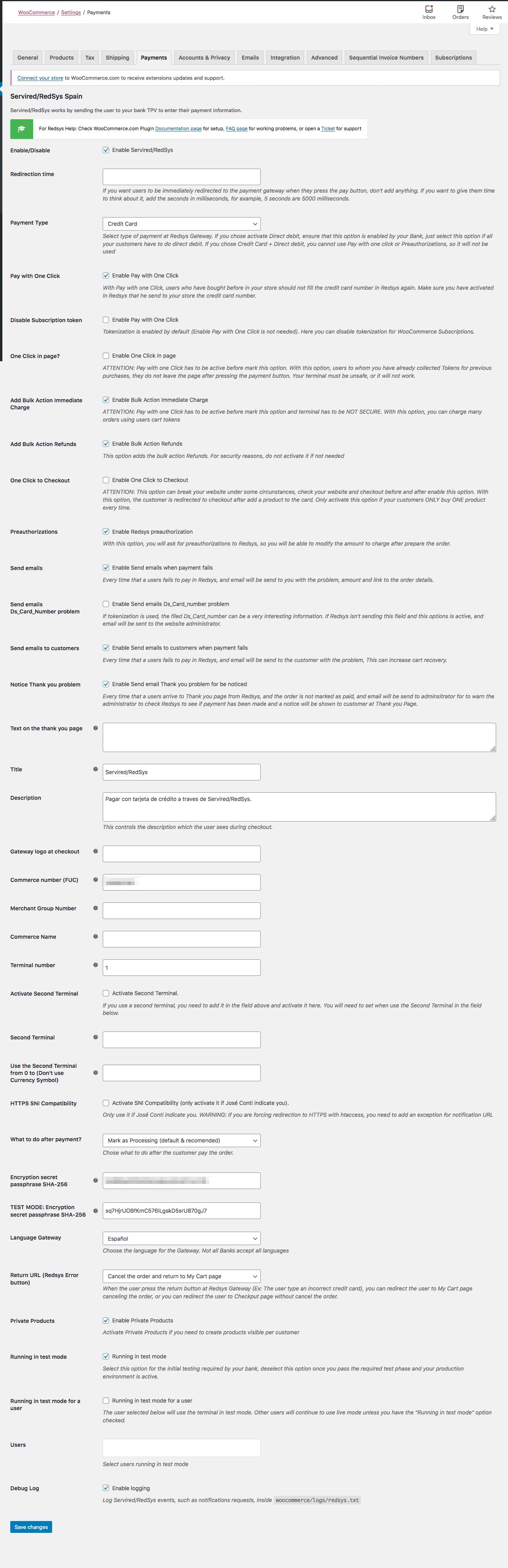 Página configuración Redsys WooCommerce