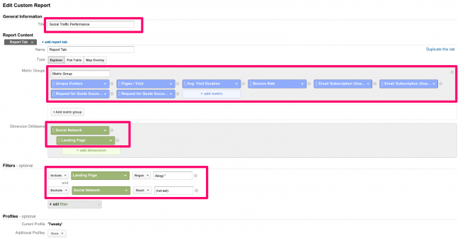 custom report setup for social network performance - Pic 6