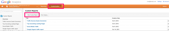 custom reports section google analytics - Pic 1