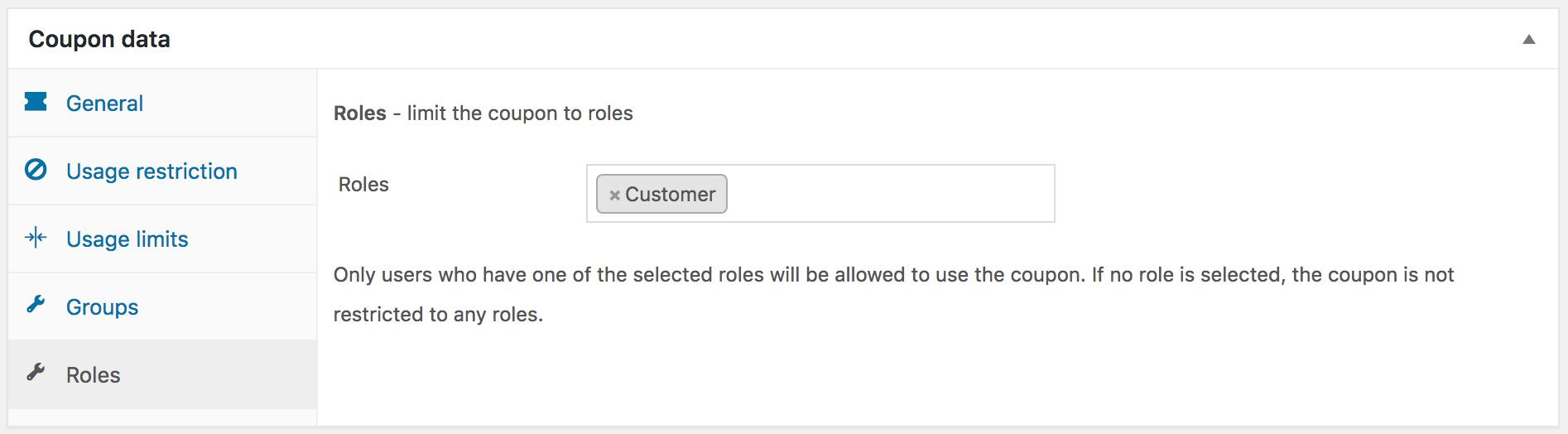 Settings for a coupon restricted to the Customer role