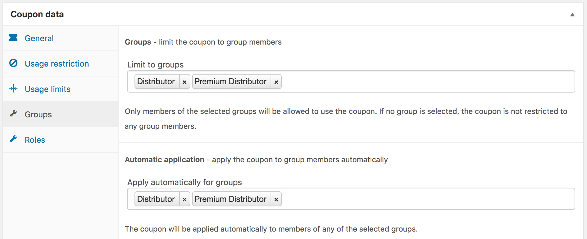 Coupon settings for distributor groups