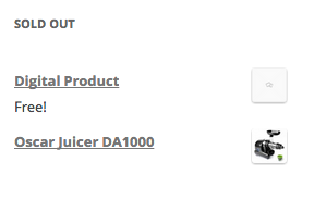 The sold out product widget