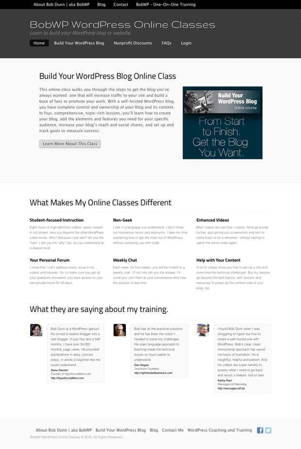 Bob's WordPress online classes website