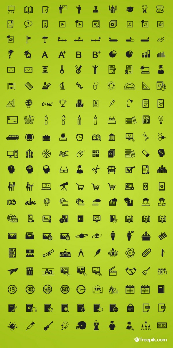 A preview of all 200 of the education themed icons.