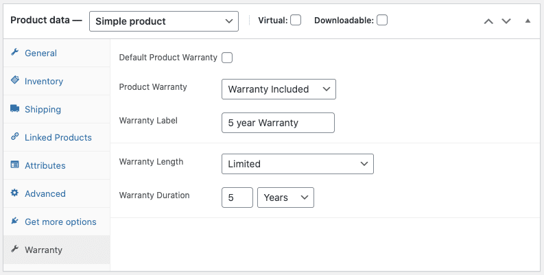 Product data settings showing Warranty options