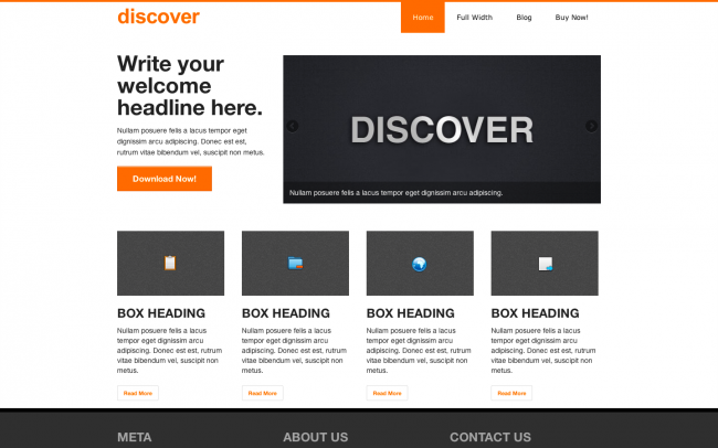 The Discover theme's business-centric homepage.