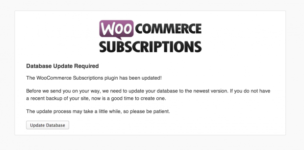 WooCommerce Subscriptions Database Upgrade Screen