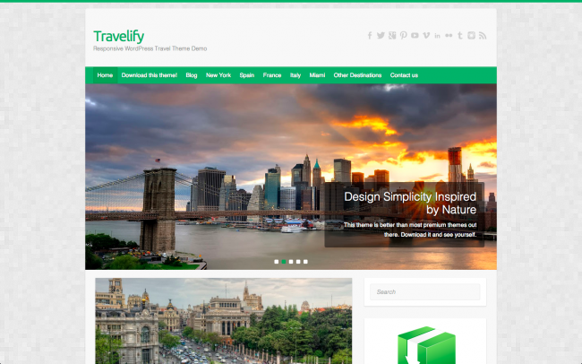 The Travelify theme's homepage, inspired by nature.