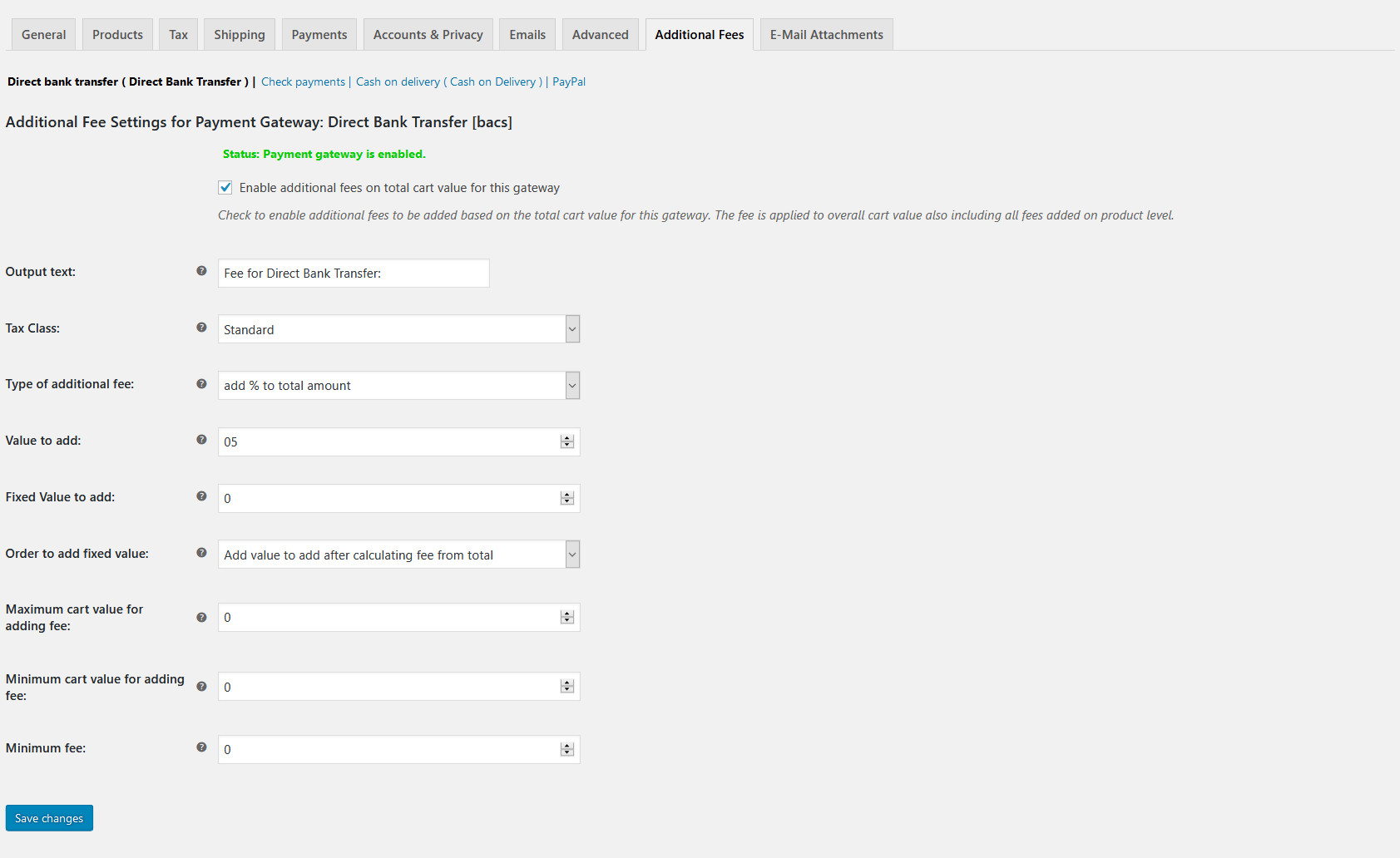 Screenshot of the Payment Gateway Based Fees admin/settings page