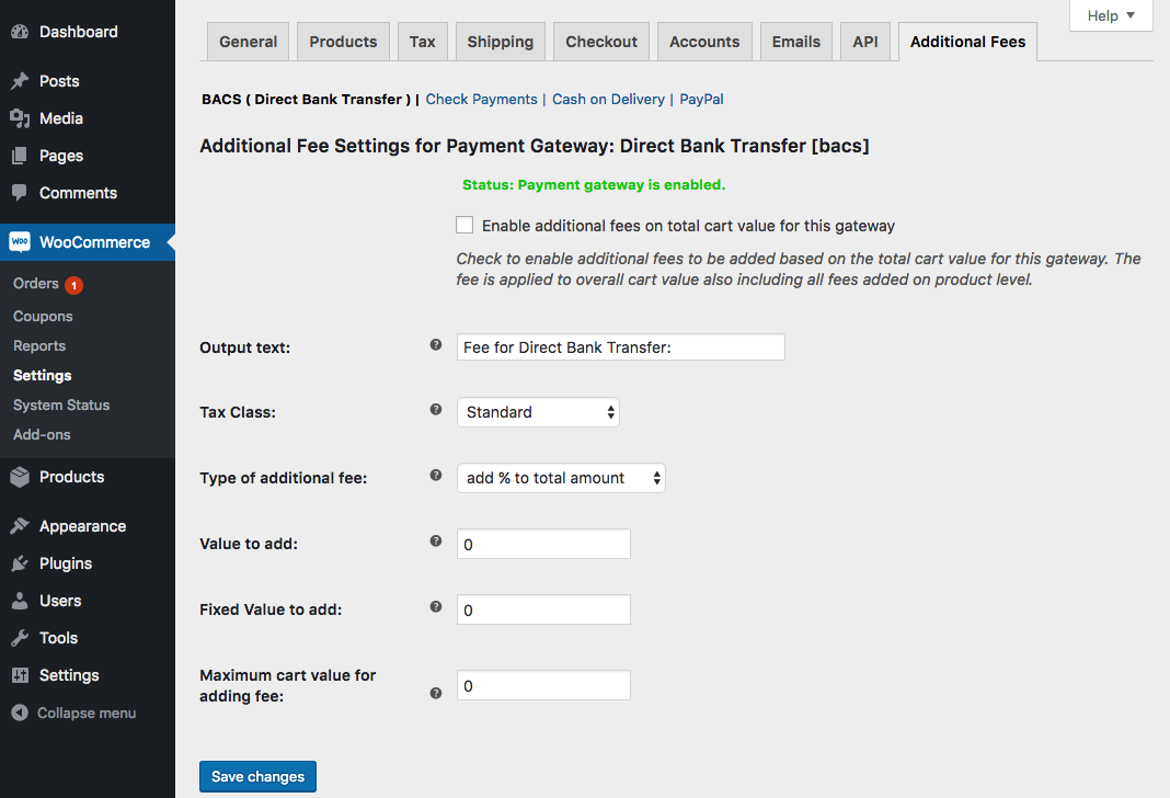 Payment Gateway Based Fees - WooCommerce
