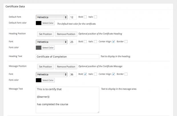 The editor screen in the Sensei Certificates extension.