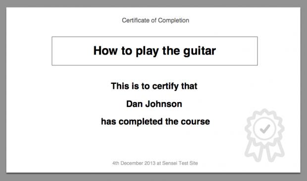 The default certificate design, bundled with Sensei Certificates.