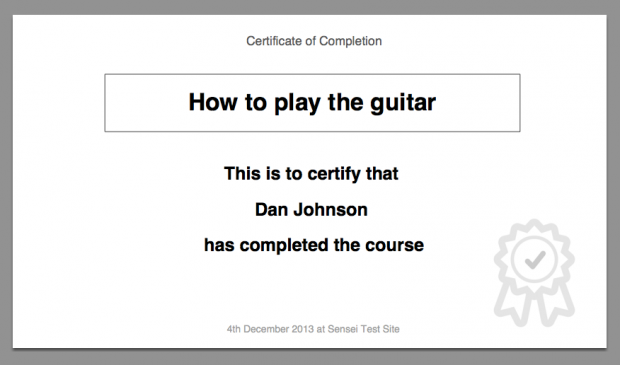 A sample certificate design.
