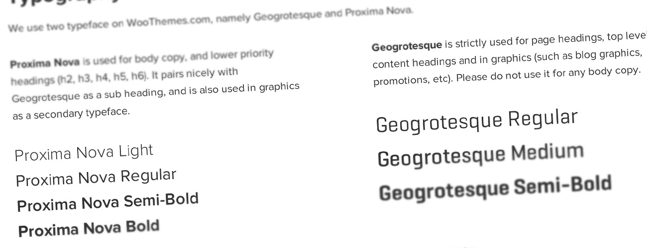 The typography used across  WooThemes.com