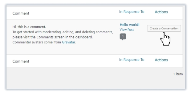 Start a conversation from WordPress blog comments