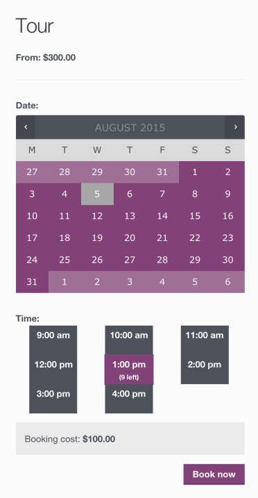 WooCommerce Bookings calendar