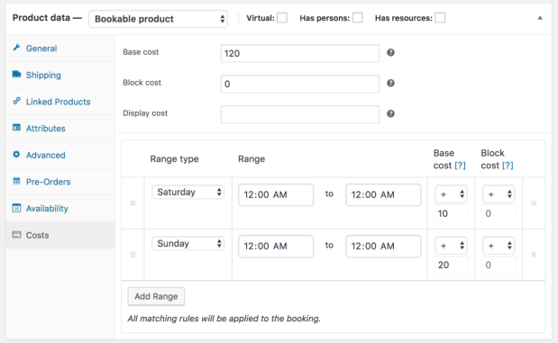 WooCommerce Bookings flexible booking times