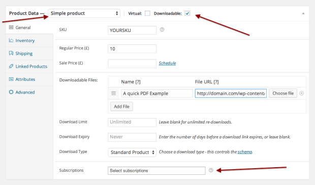 Easily connect a downloadable product to a subscription product you offer.
