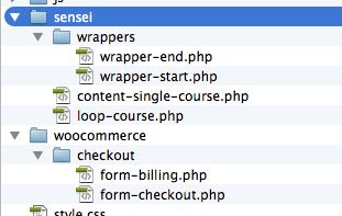 Screenshot showing the website's folder structure.