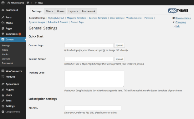 The WooFramework settings screen integrates seamlessly into your WordPress dashboard.