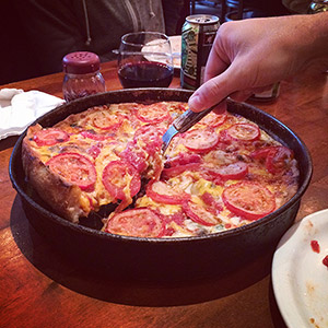 Deep dish pizza in Chicago. It had to be done.